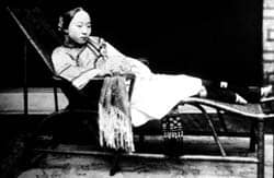 Woman with bound feet, China (19th century): Public Domain