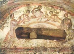 Fresco of a female figure holding a chalice at an early Christian Agape feast. Catacomb in Rome Source: Public Domain