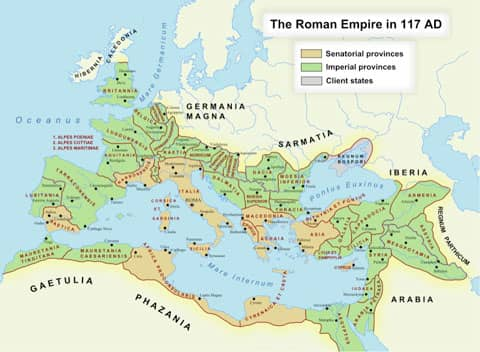 Roman empire at its greatest extent, 117 CE