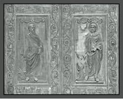 St Peter and St Paul engraved in bronze Source: http://www.flickr.com/photos/paullew/3040975898/