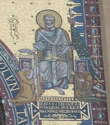 Detail of Triclinio featuring St. Peter flanked by Pope Leo III (left) and Charlemagne (right). Source: http://www.flickr.com/photos/16278778@N00/414263592/