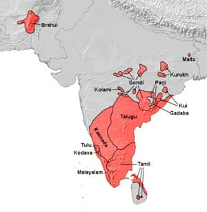 Title: Areas in South Asia native to people speaking a language of Dravidian group