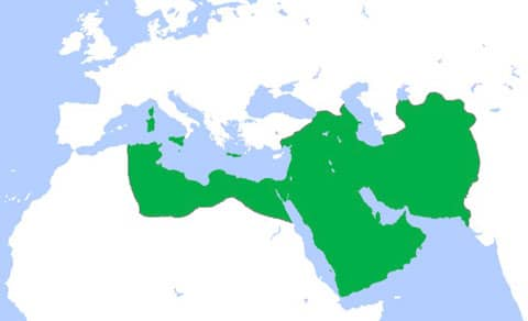 Title: Abbasid Caliphate (green) at its greatest extent, c. 850. Source: http://en.wikipedia.org/wiki/File:Abbasids850.png