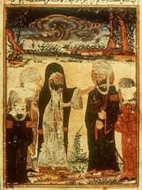 The Investiture of Ali, at Ghadir Khumm (MS Arab 161, fol. 162r, AD 1309/8 Ilkhanid manuscript illustration).