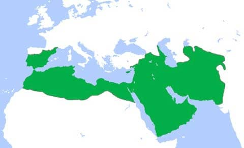 Umayyad caliphate at its greatest extent (750 CE): Public  Domain