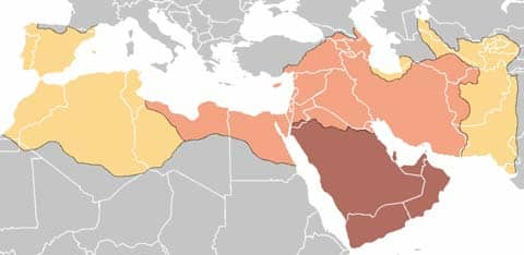 The Islamic World expansion, 622-750