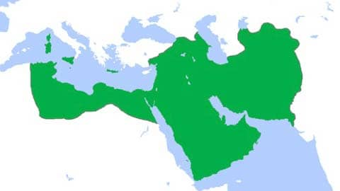 Abbasid Caliphate (green) at its greatest extent, c. 850:  Public Domain