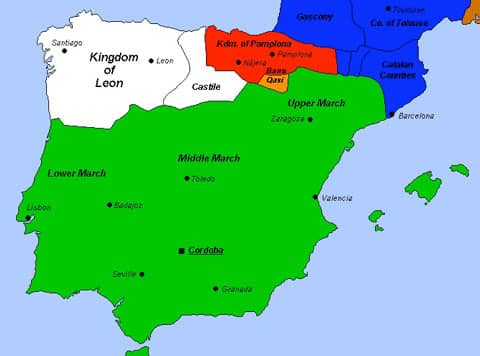 The Caliphate of Cordoba c. 1000 at the apogee of Al-Mansur