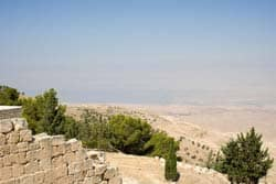 Looking out at the Dead Sea from Mt. Nebo, where Moses died: Photo by Cybjorg via Wikimedia CC.