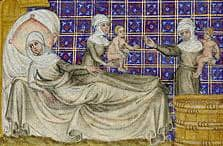 The Birth of Esau and Jacob, by Master of Jean de Mandeville, Bible Historiale circa 1360-1370 via Wikimedia CC