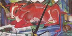 Die Weltenkuh (The World Cow) by Franz Marc via Wikimedia Commons CC