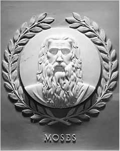 Moses marble bas-relief at the US House of Representatives: sculpted by Jean de Marco in 1950, image via Wikimedia CC