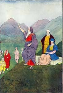 Moses speaks to the children of Israel. Illustrator of Hartwell James's 'The Boys of the Bible', 1905, 1916