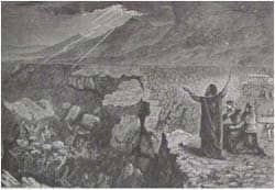 The destruction of Korach, Dathan, and Abiram: from the 1890 Holman Bible via Wikimedia CC