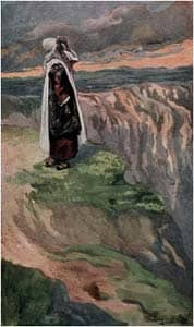 Moses Sees the Promised Land from Afar, as in Numbers 27:12: by  James Tissot prior to 1903 via Wikimedia CC