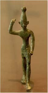 An idol, the god Baal from 14th-12th century B.C.E., found in Ras Shamra (ancient Ugarit) via Wikimedia CC