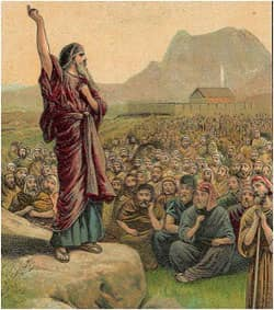 Moses Pleading with Israel: illustration from Bible card 1907 by the Providence Lithograph Company via Wikimedia CC