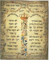Decalogue parchment by Jekuthiel Sofer 1768 via Wikimedia CC