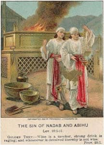 The Sin of Nadab and Abihu: illustration from a Bible card published in 1907 via Wikimedia CC