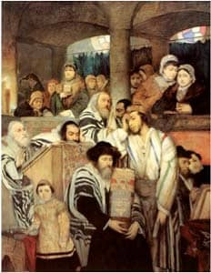 Jews Praying in the Synagogue on Yom Kippur: by Maurycy Gottlieb via Wikimedia CC