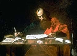 title: St. Paul writing his epistles Source: http://en.wikipedia.org/wiki/File:PaulT.jpg