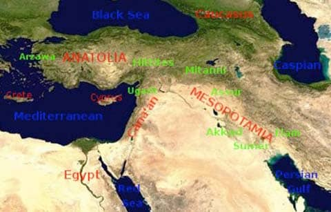 Map of the ancient near east Source: http://en.wikipedia.org/wiki/File:Ancient_Orient.png