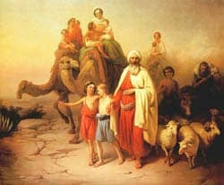Abraham and his family traveling toward Canaan Source: http://en.wikipedia.org/wiki/File:Moln%C3%A1r_%C3%81brah%C3%A1m_kik%C3%B6lt%C3%B6z%C3%A9se_1850.jpg