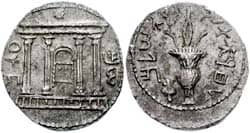 title: Bar Kochba silver Shekel/tetradrachm. Obverse: the Jewish Temple facade with the rising star