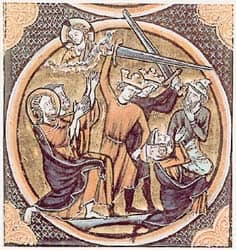 Title: This illustration from a 1250 French Bible is thought by some to depict Jews (identifiable by Judenhut) being massacred. Source: http://en.wikipedia.org/wiki/File:FirstCrusade.jpg
