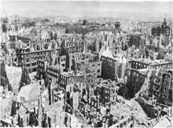 Dresden after the 1945 bombing: courtesy of http://www.alien8.de/dd/page-1.html