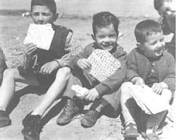 The first matzah eaten in Israel, 1949  photo courtesy of The Jewish Agency for Israel via C.C. License at Flickr CC